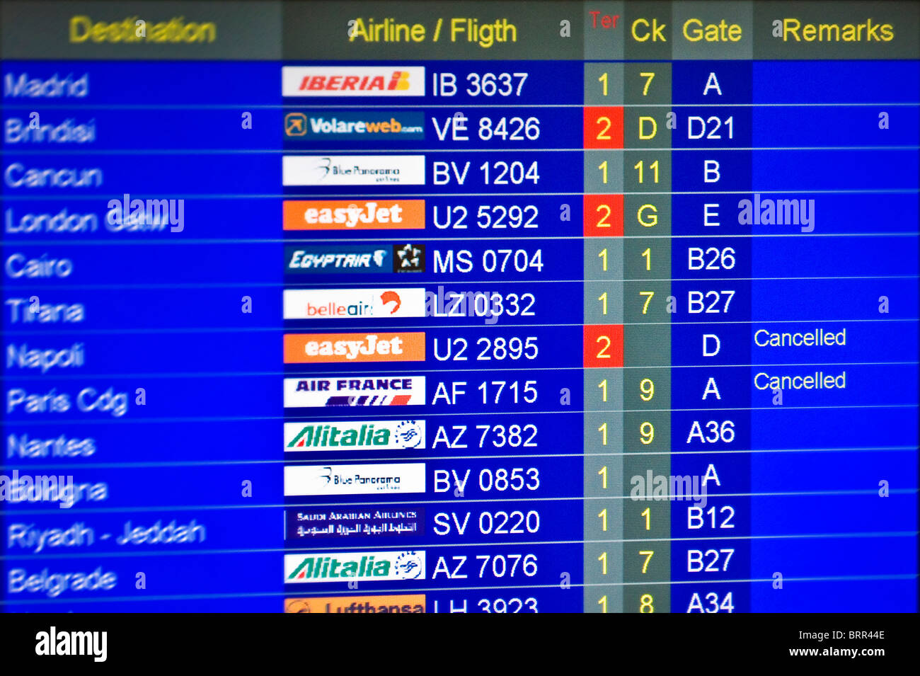 Airport information board showing arrivals and departures of flights - Stock Image
