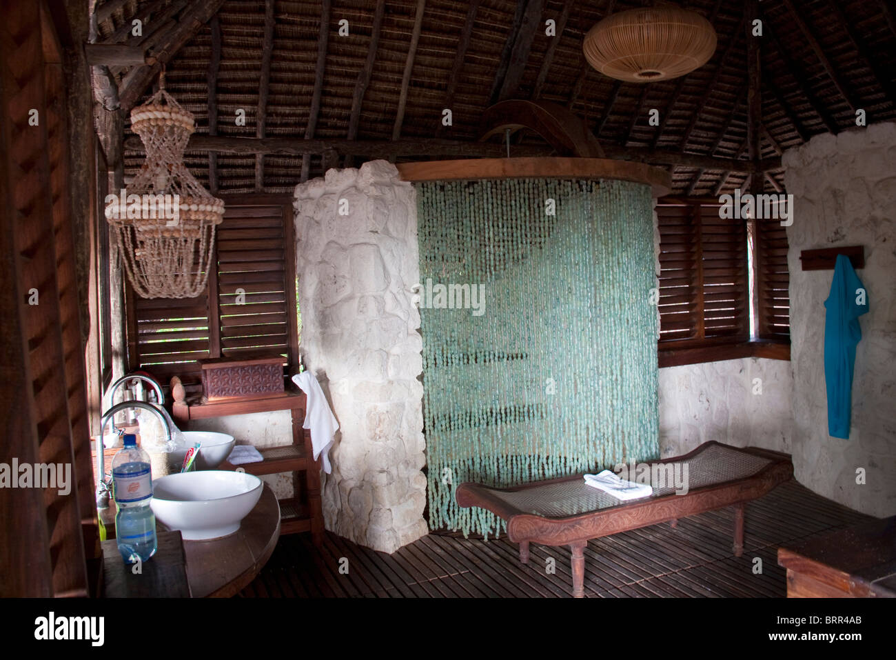 Bathroom Interior With Beaded Shower Curtain At Mnemba Lodge