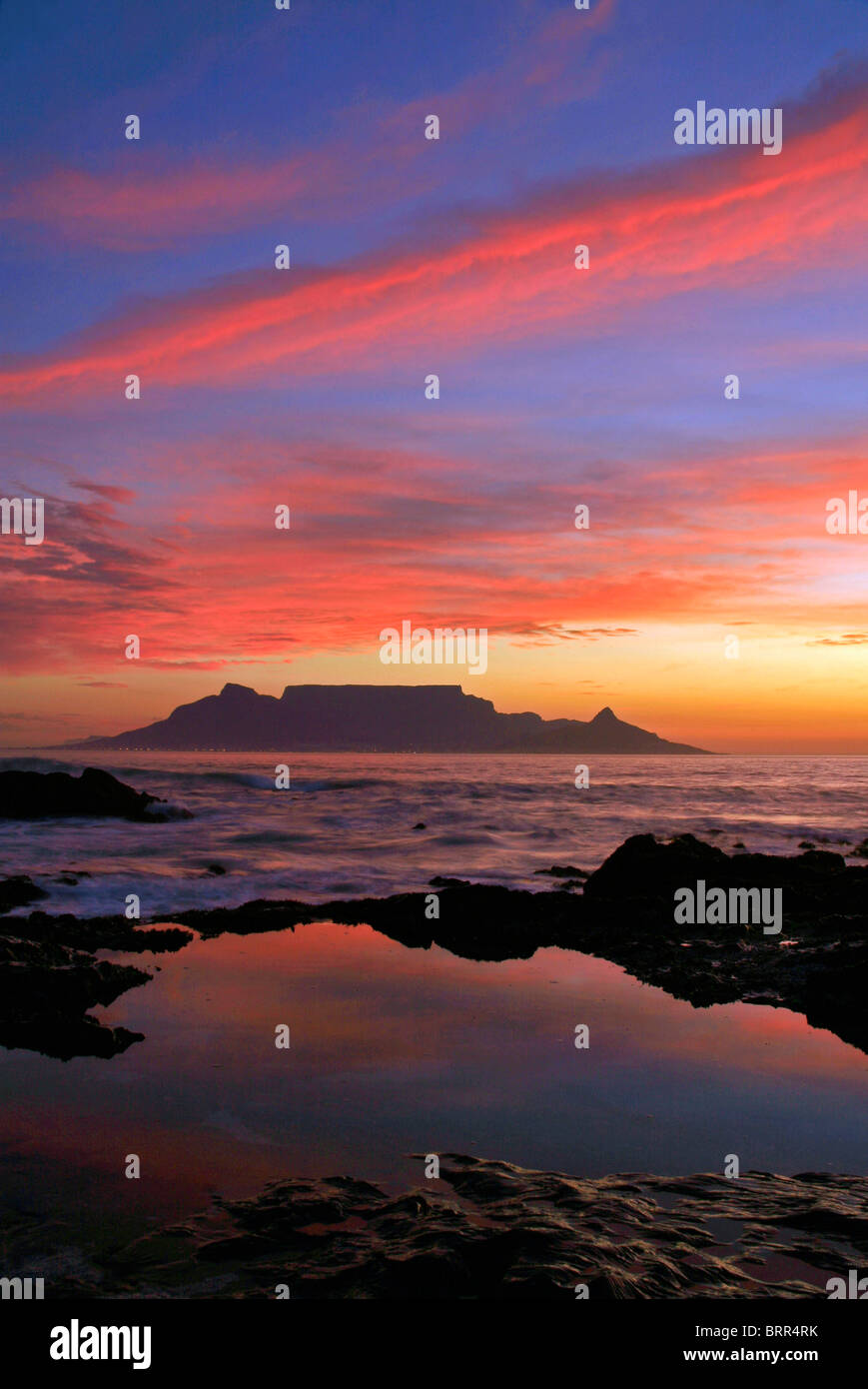 Table Mountain at sunset viewed from Table bay & Table Mountain at sunset viewed from Table bay Stock Photo: 31856151 ...
