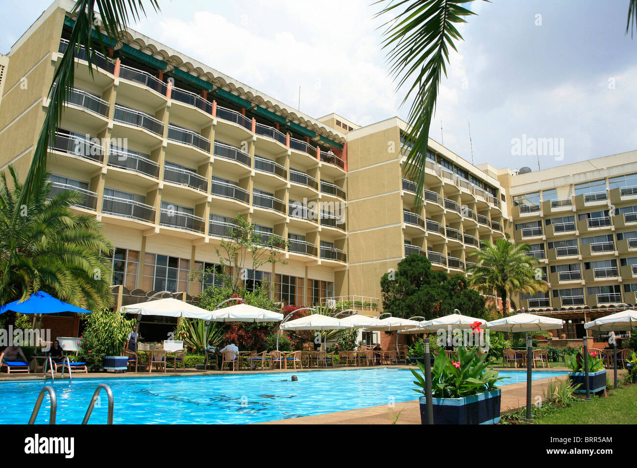 Mille des Collines Hotel hotel made famous movie Hotel Rwanda it is place where terrified Tutsi's took refuge - Stock Image