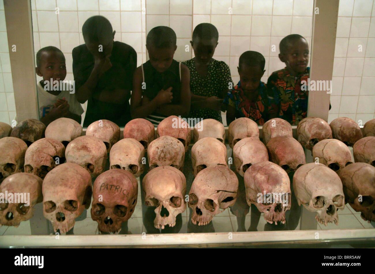 Skulls and bones at a genocide memorial church, commemorating the 1994 genocide in Rwanda - Stock Image
