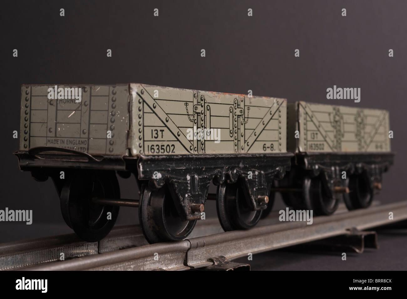 Tinplate Hornby 0 Gauge Wagons, circa 1950s - Stock Image