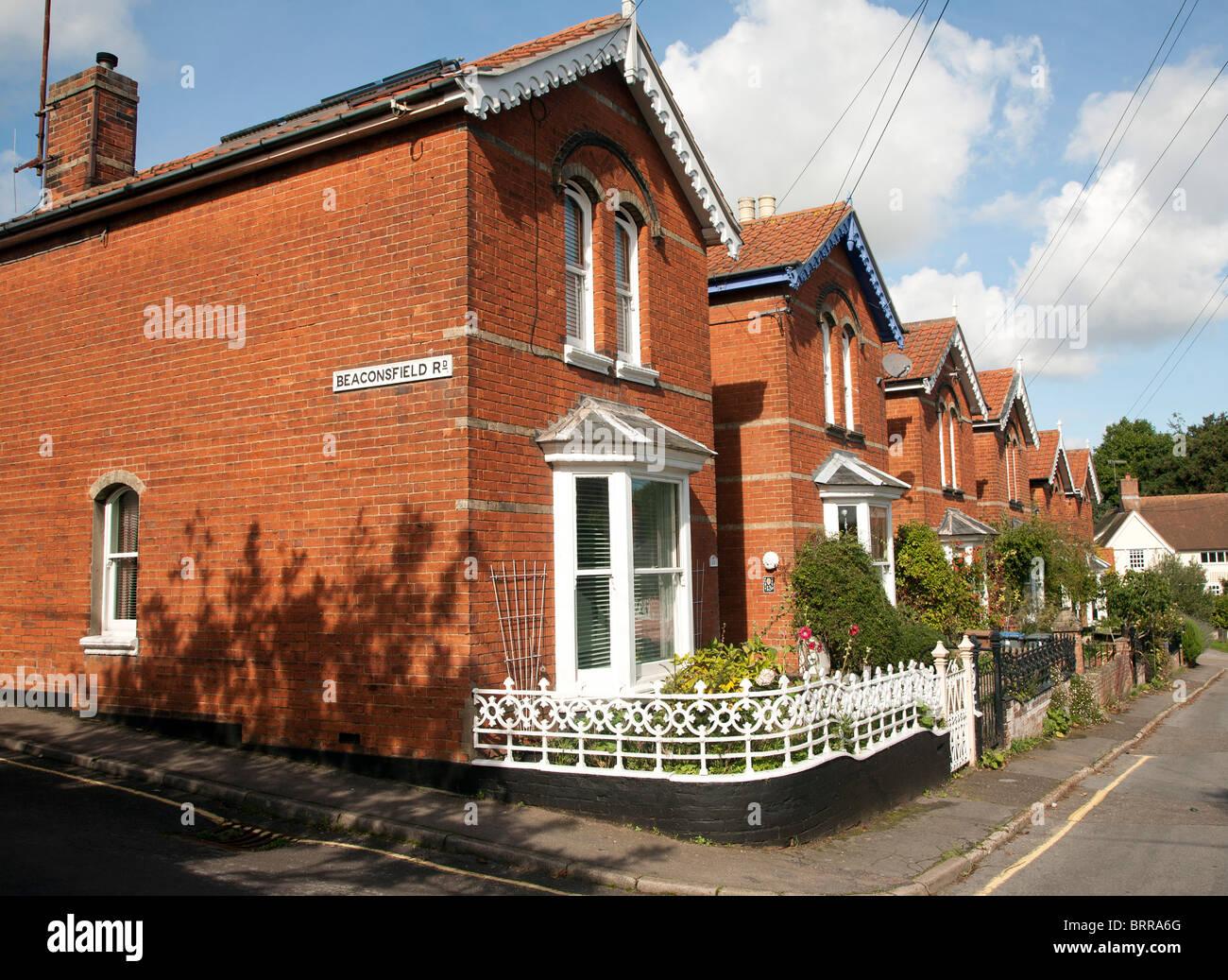 Red brick Edwardian Victorian villas Woodbridge Suffolk England - Stock Image
