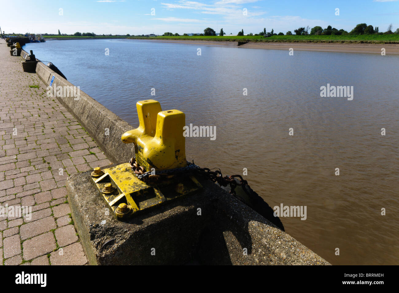 A view  along the River Ouse at King's Lynn, looking inland towards the south and the Fens Stock Photo