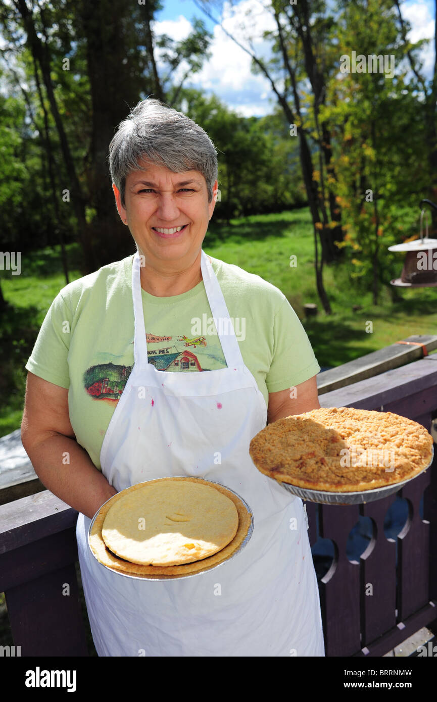USA New York Naples NY Monica of Monica's pies grape pies Canandaigua Lake Finger Lakes - Stock Image