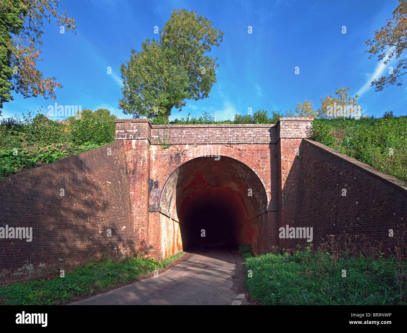 Red Brick Tunnel on a rail embankment with road under with single tree and blue sky Stock Photo