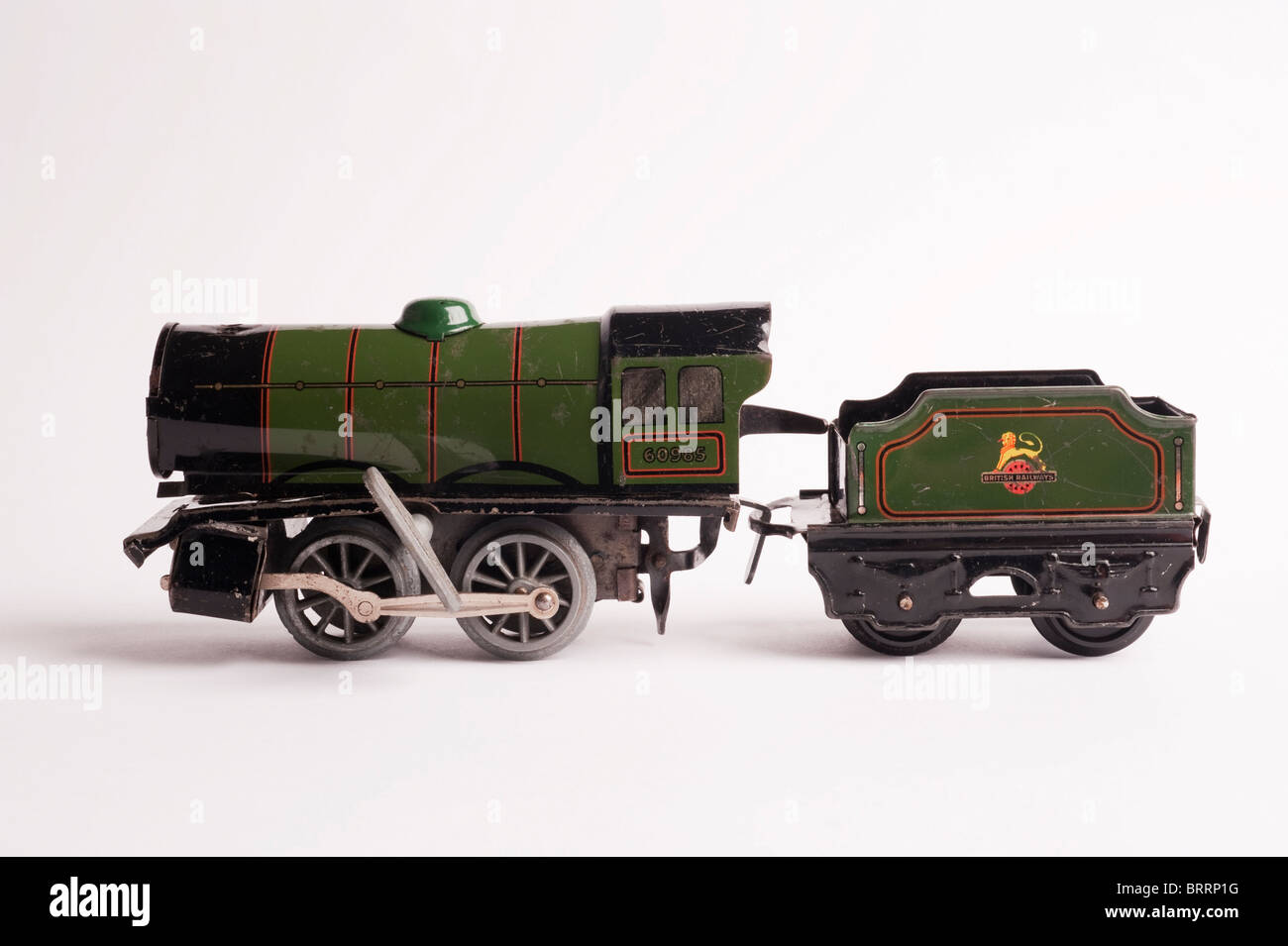 Tinplate Hornby 0 Gauge Train with Key, side view, circa 1950s - Stock Image