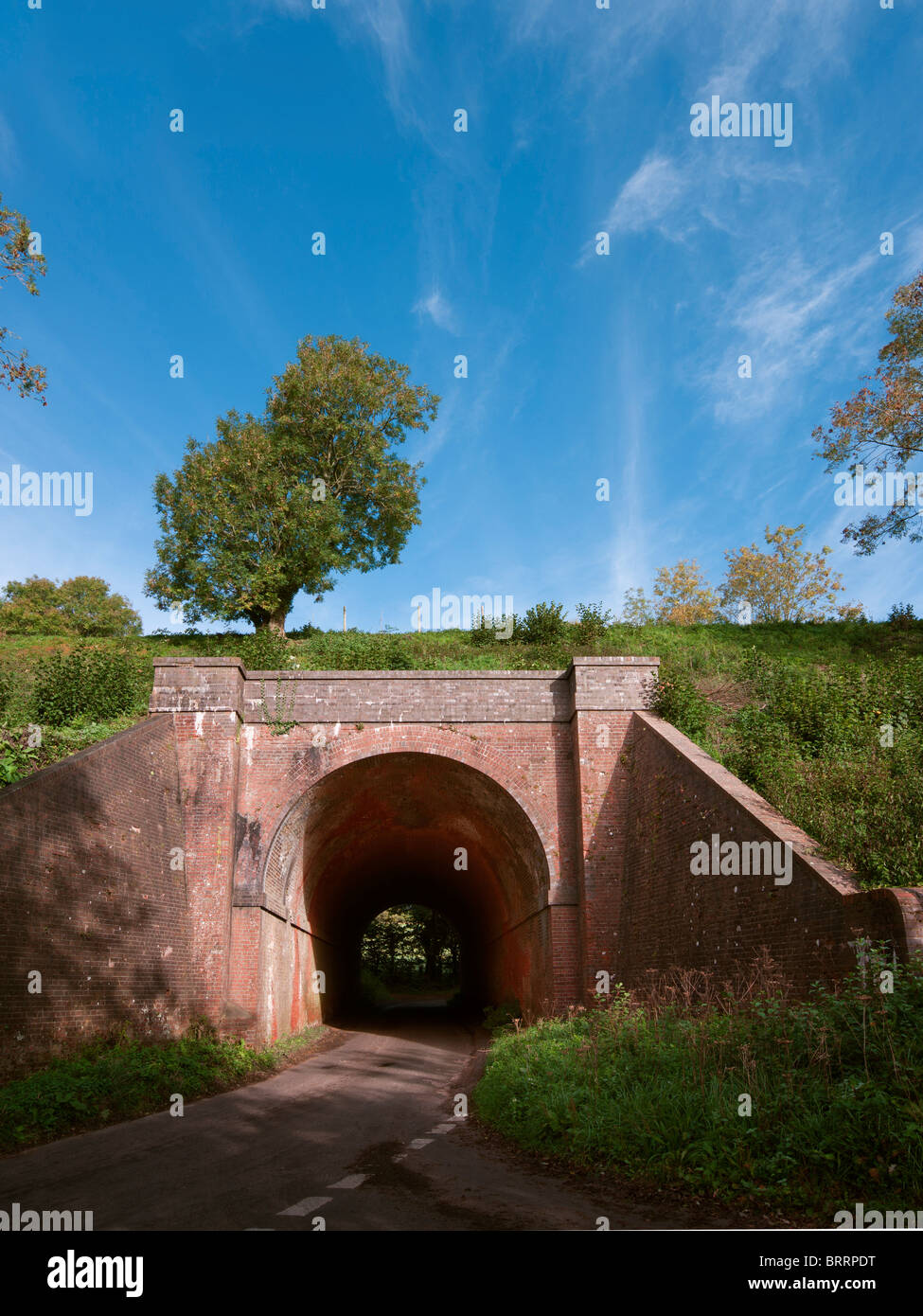 Red Brick Tunnel on a rail embankment with road under with single tree and blue sky - Stock Image