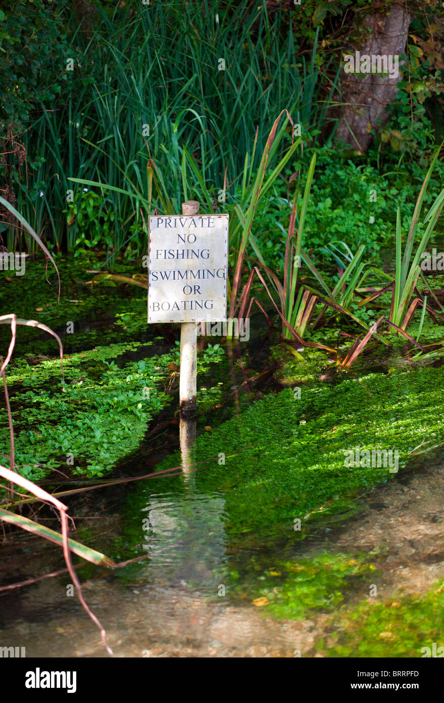 Private No Fishing Swimming or Boating River Warning Sign - Stock Image