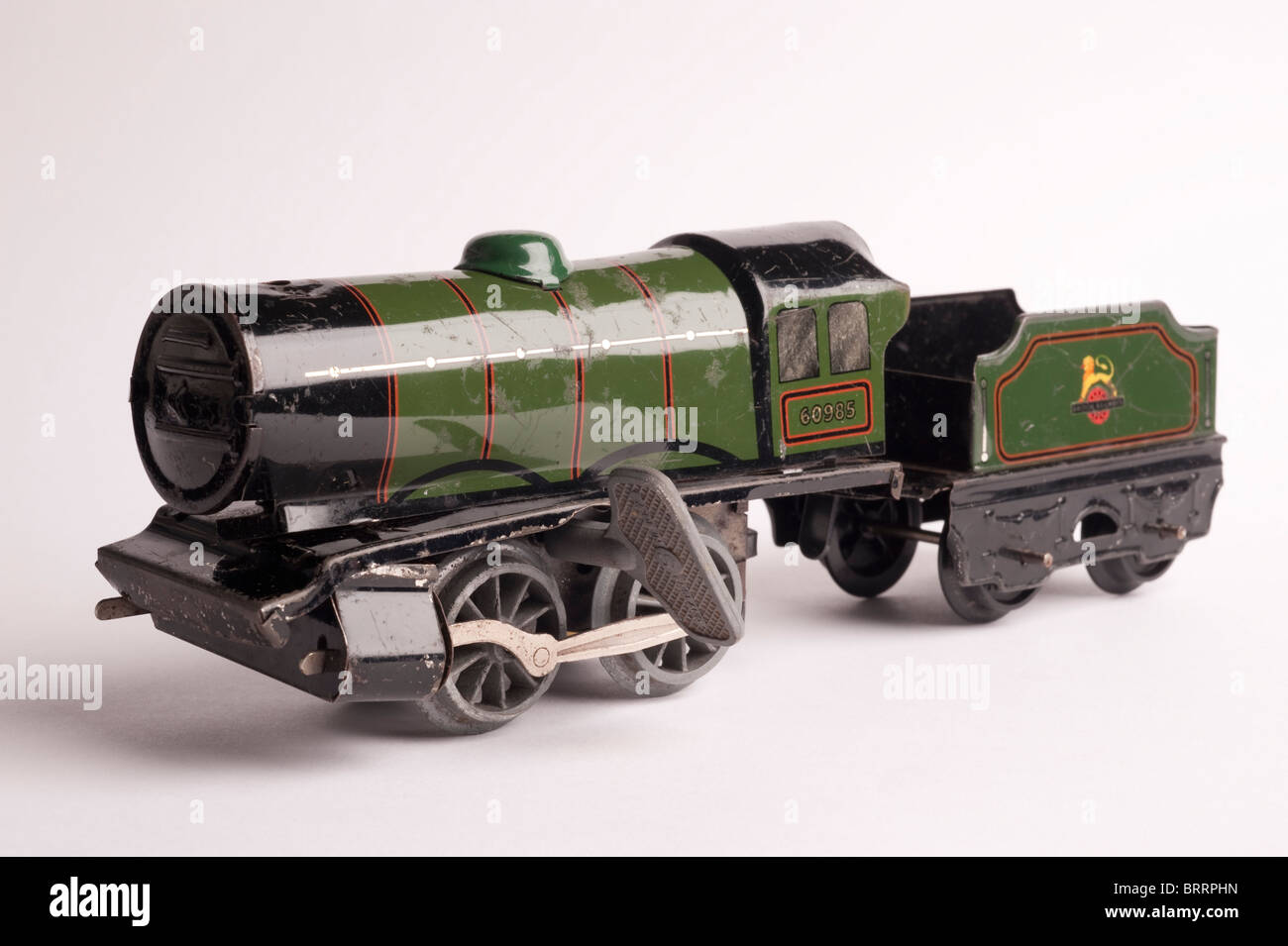 Tinplate Hornby 0 Gauge Train with Key, front view, circa 1950s - Stock Image