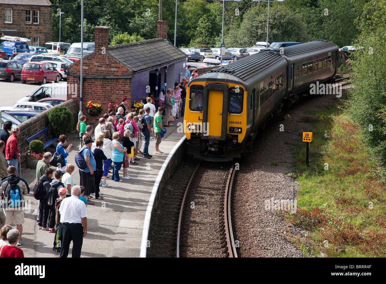 Local Northern Train picking up passengers at Grosmont on the Middlesbrough to Whitby line - Stock Image