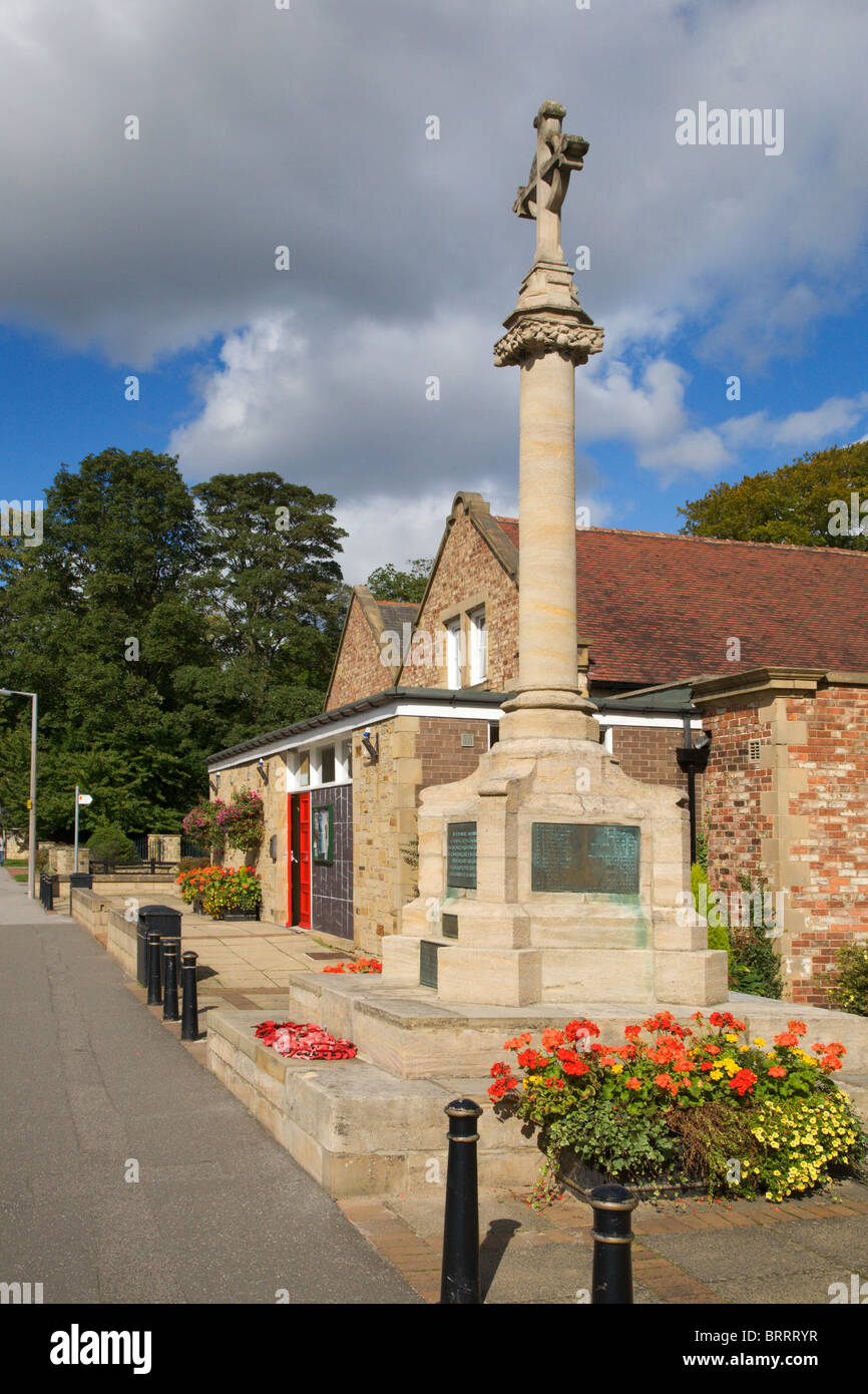 War Memorial and Village Hall Boston Spa West Yorkshire England - Stock Image