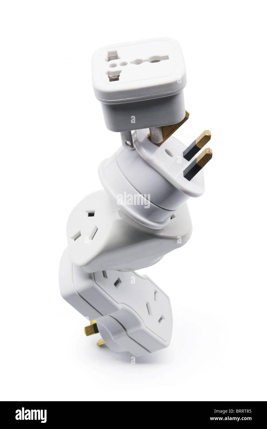 Stack of Power Adaptors Stock Photo