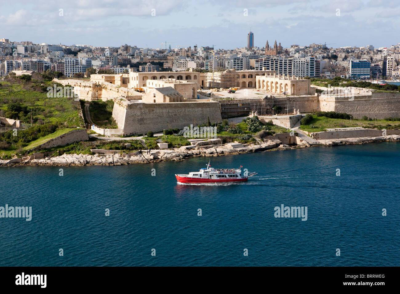 View of Valletta from Marsamxett Harbour on Manoel Harbour, Valletta, Malta, Europe - Stock Image
