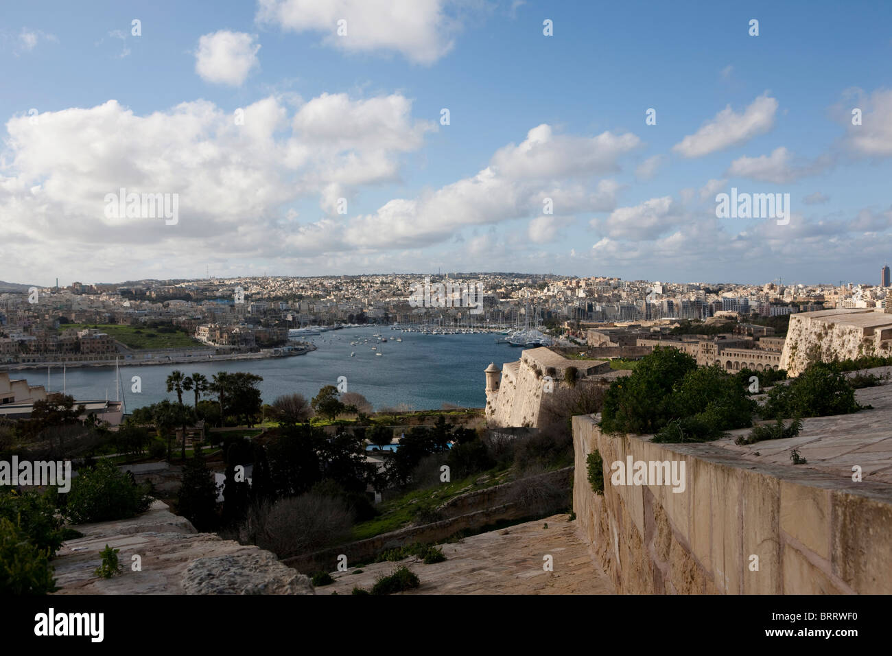 View of Marsamxett Harbour and Lazzaretto Creek from Valletta, St Andrew's Bastion in the front, Valletta, Malta, - Stock Image