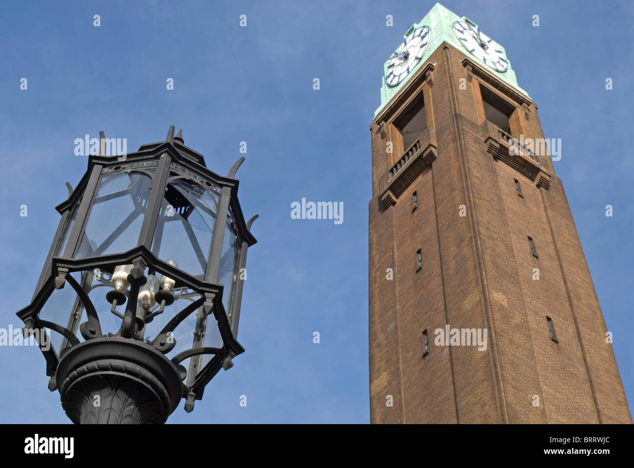 decorative wrought iron lamp and gillette tower, features of the 1937 former gillette factory, west london, england - Stock Image