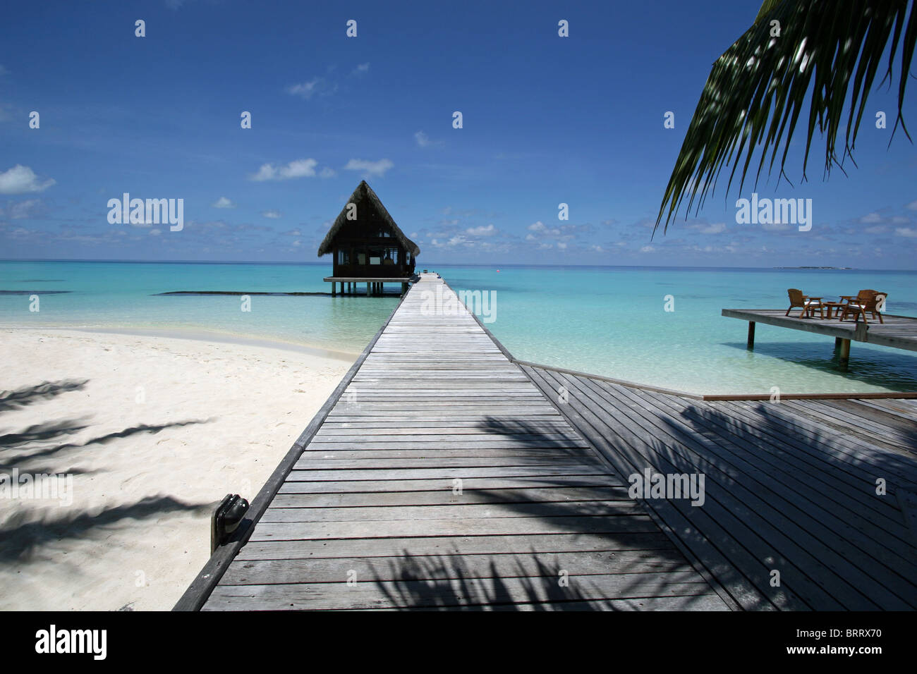 A Beach Bar Scene on Kuramathi, a tropical island resort on the Maldives Stock Photo