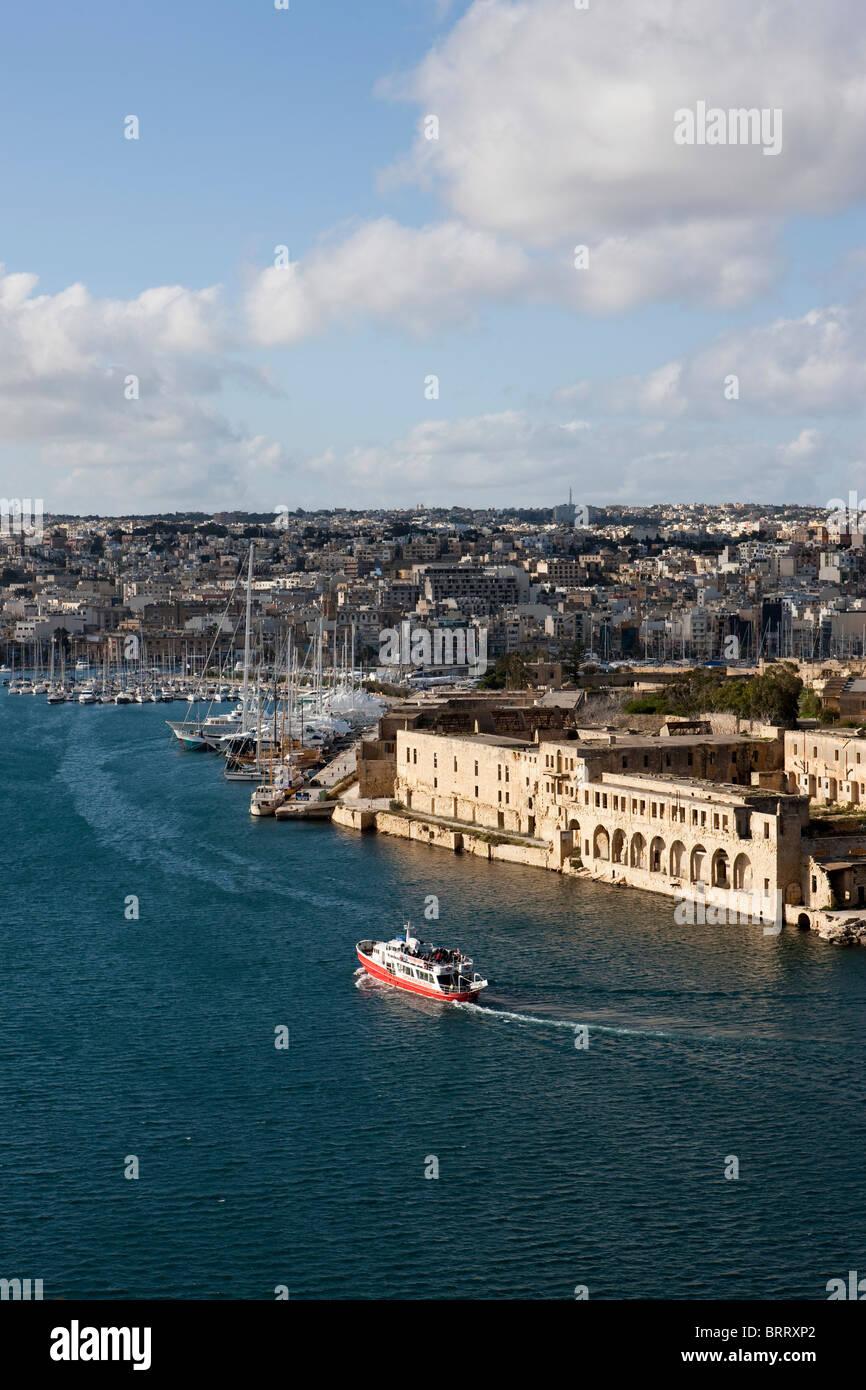 View of Marsamxett Harbour on Manoel Island from Valletta, Malta, Europe - Stock Image