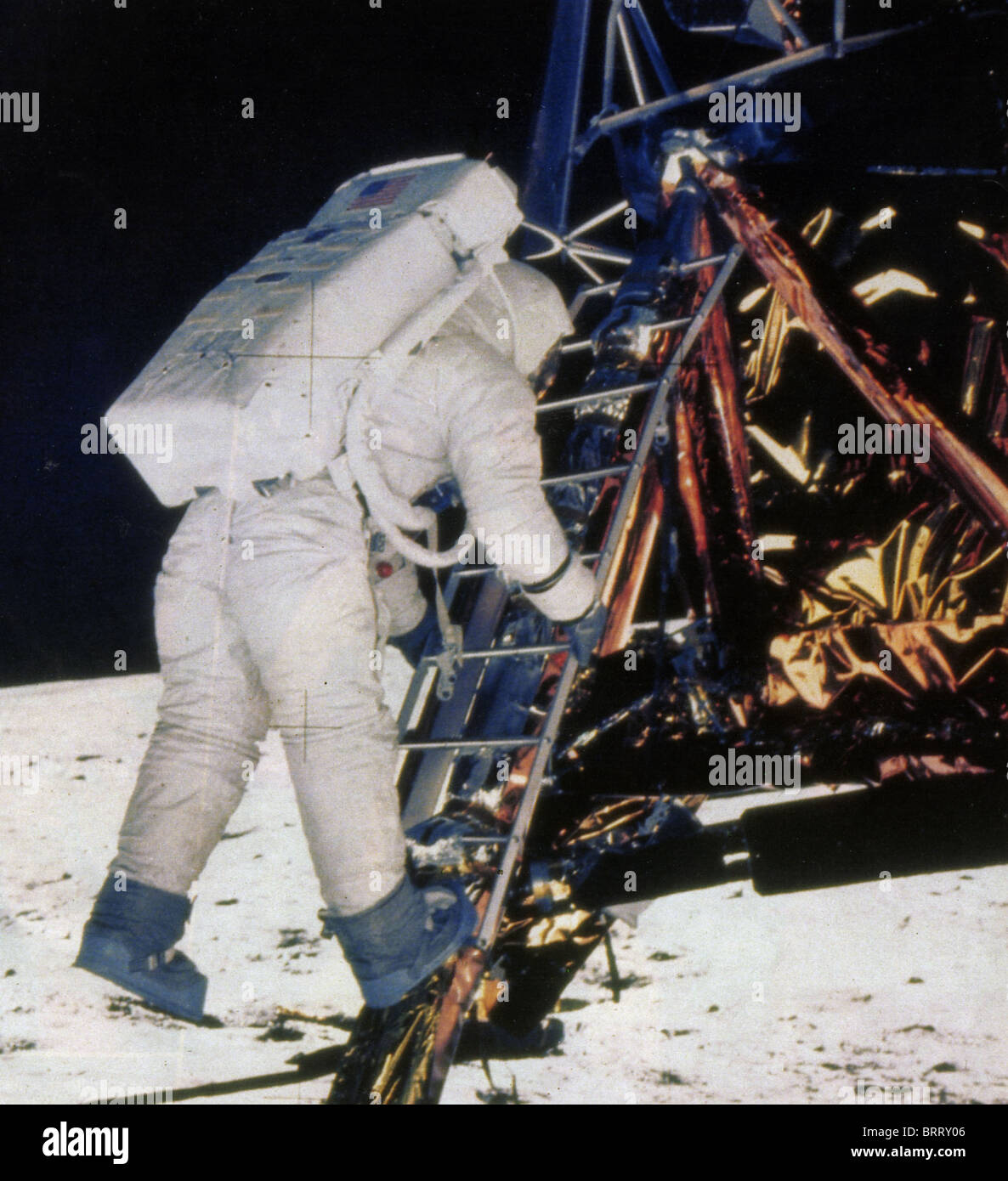 NEIL ARMSTRONG leaving the Apollo Lunar Module during the Apollo 11 landing in July 1969 - Stock Image
