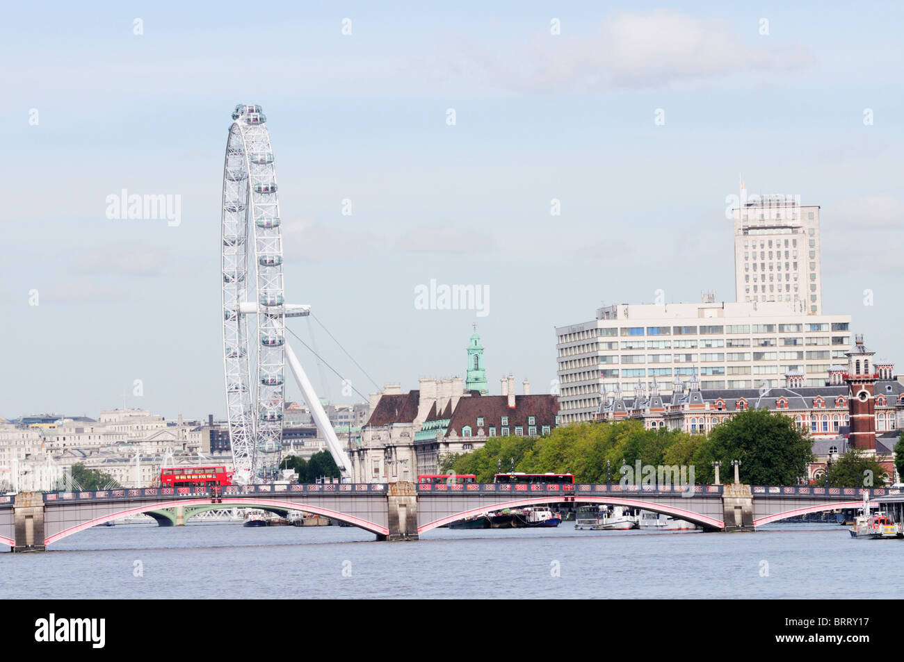 Lambeth Bridge with The London Eye and St Thomas' Hospital, view from Vauxhall Bridge, London, England, UK - Stock Image