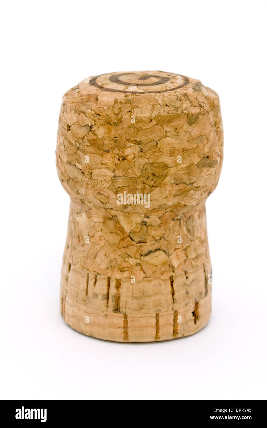 champagne cork on a white background - Stock Image