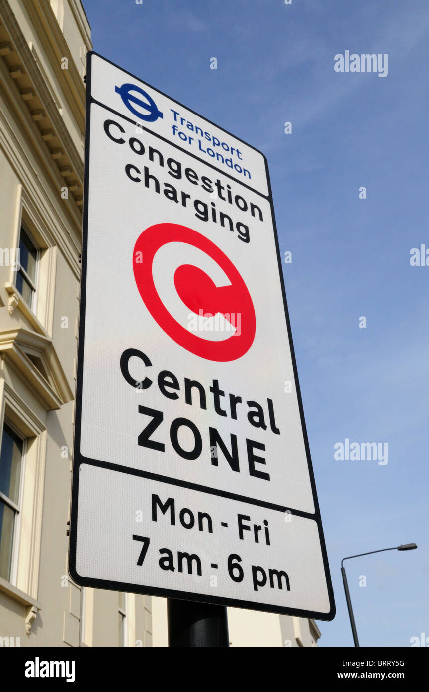 Transport for London Congestion Charging Central Zone sign, Millbank, London, England, UK - Stock Image