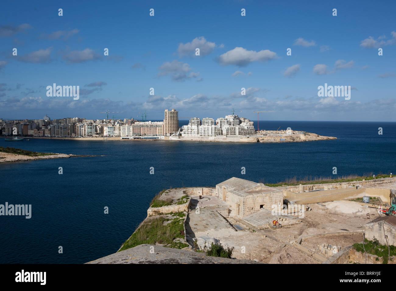 View of Marsamxett Harbour and Sliema Beach from Valletta, Sliema Creek, Valletta, Malta, Europe - Stock Image