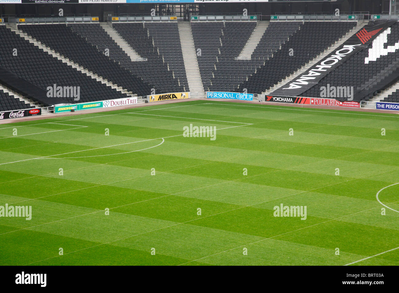 Terraces at MK Dons football stadium - Stock Image