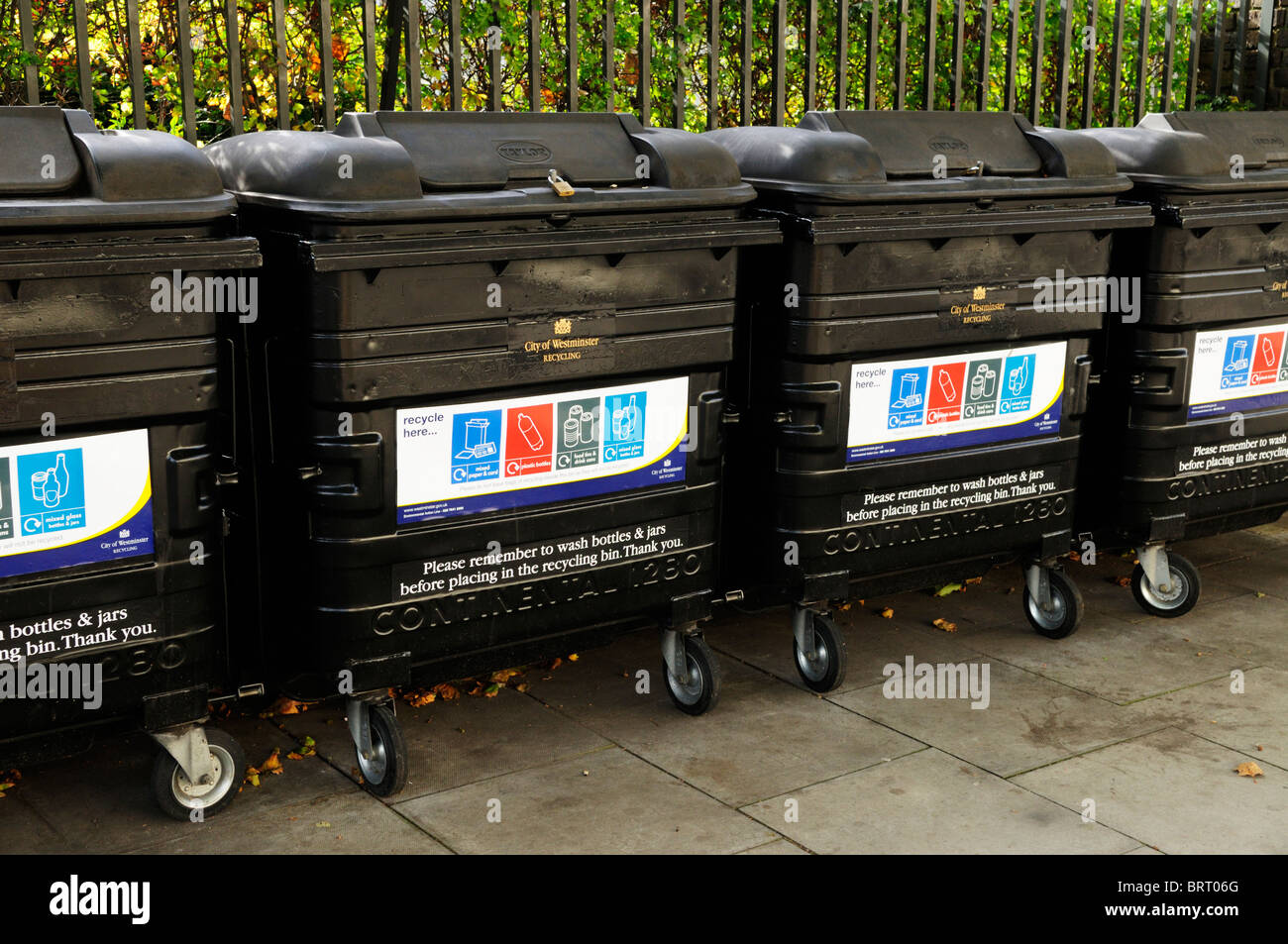 Westminster City Council Recycling bins, London, England, UK Stock Photo