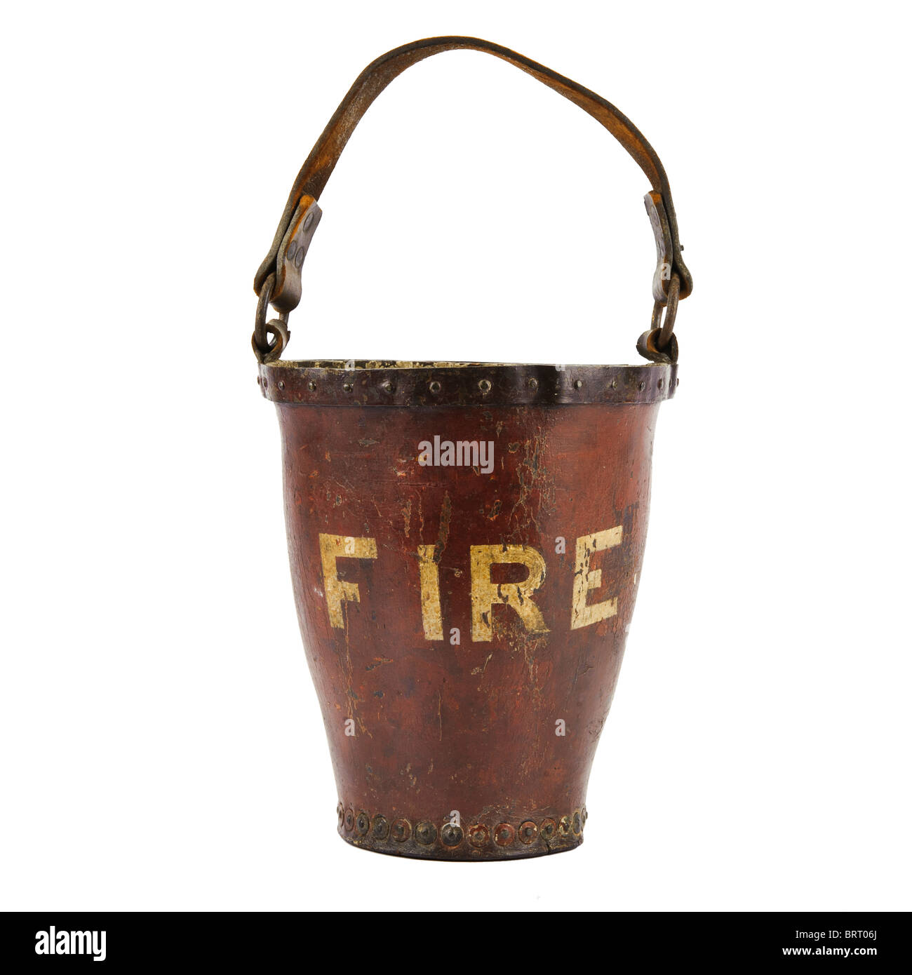 Antique leather fire bucket cut-out. Stock Photo