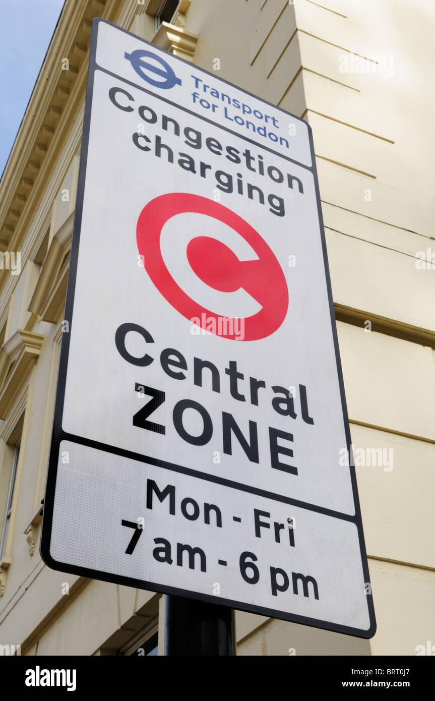 Congestion Charging Central Zone sign, Millbank, London, England, UK - Stock Image