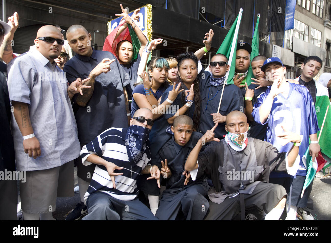 Members of the Azteca Gang celebrate the 2010 Mexican Independence Day Parade in New York City - Stock Image