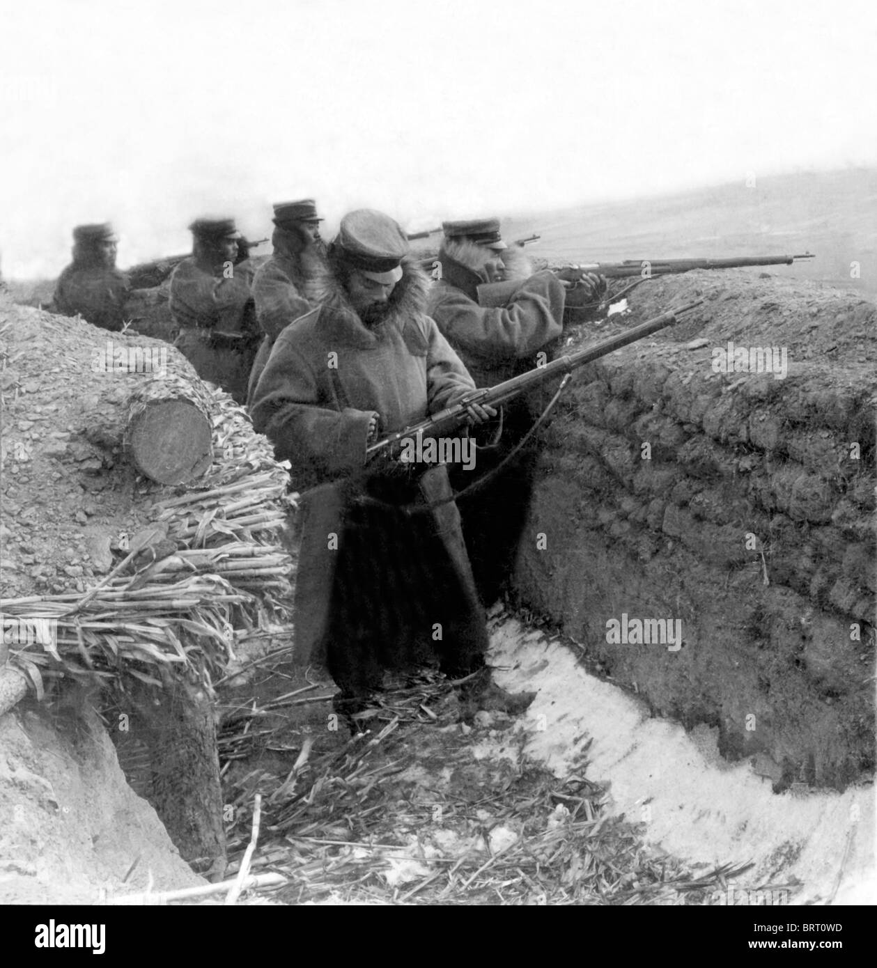 Soldiers in a trench, historic photograph, around 1915, First World War - Stock Image