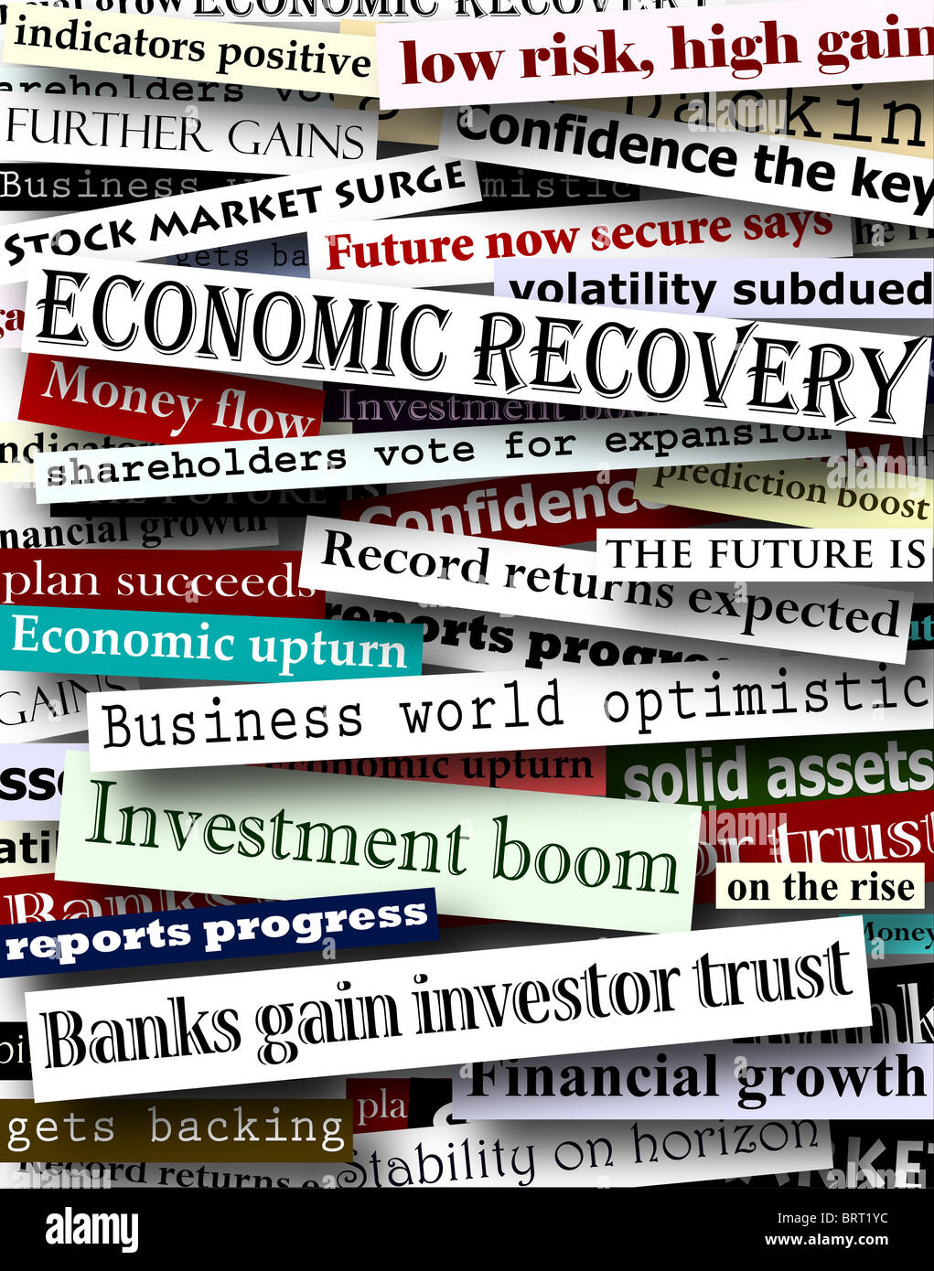Background design of newspaper headlines about economic recovery - Stock Image