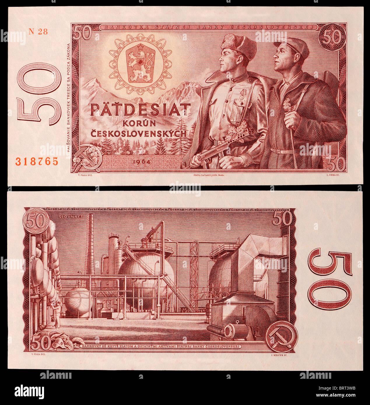 Czechoslovakian banknote from 1964. Patdesiat Korun / Fifty Crowns. - Stock Image