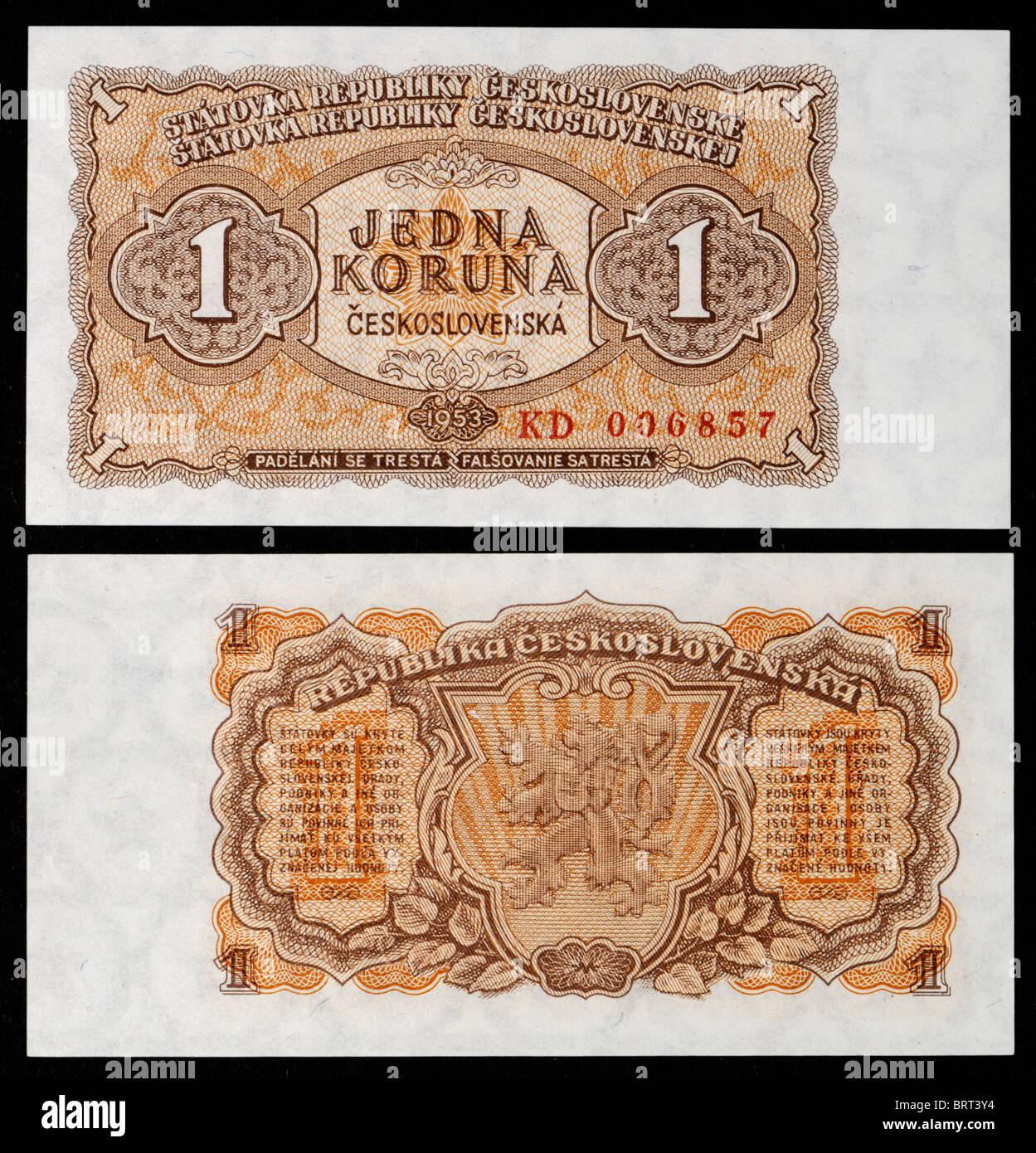 Czechoslovakian banknote from 1953. Jedna Korun / One Crown - Stock Image