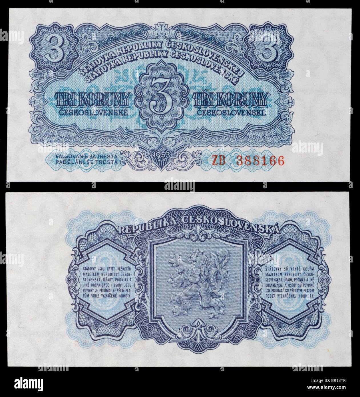 Czechoslovakian banknote from 1953. Tri Koruny / Three Crowns - Stock Image