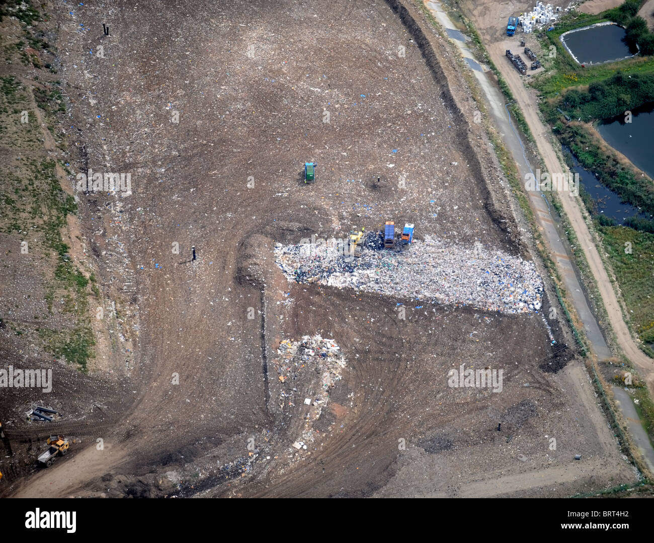 Aerial view of a landfill site to the west of Gloucester UK - Stock Image