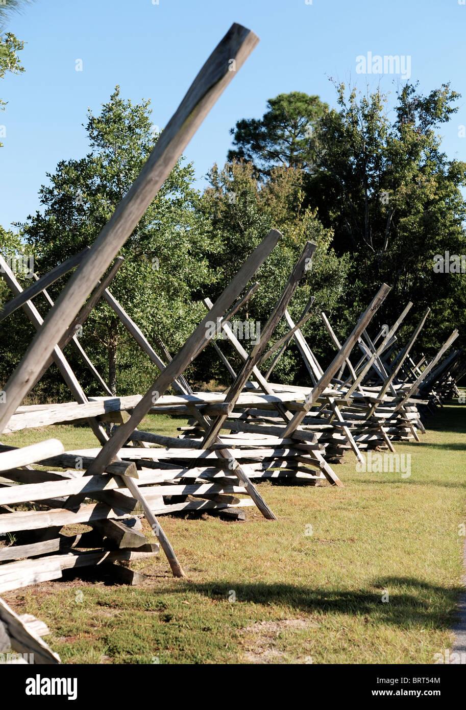Fence of Interlocking Timbers, Charleston Landing, SC, USA - Stock Image