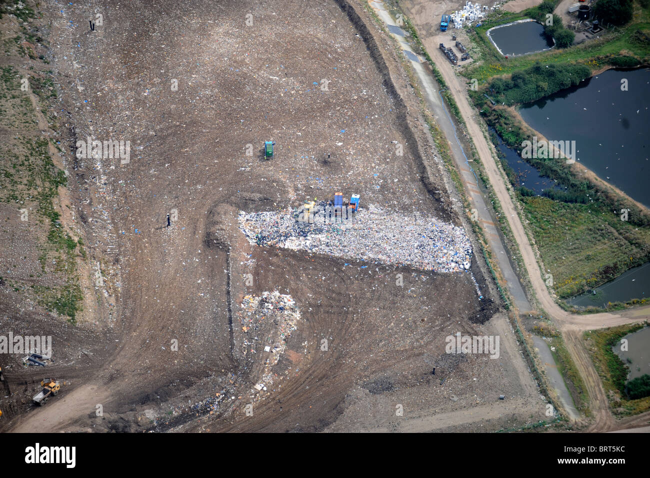 Aerial view of a landfill site to the west of Gloucester UK Stock Photo
