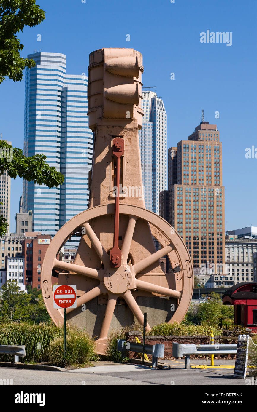 A blowing engine, lungs of a blast furnace, on the Riverwalk of Industrial Artifacts, Pittsburgh, Pennsylvania - Stock Image