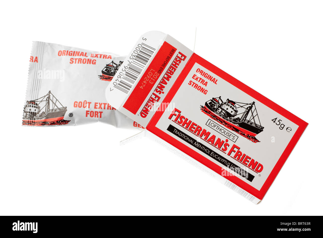 45G Box and packet of Fishermans friends original extra strong traditional menthol eucalyptus lozenges - Stock Image