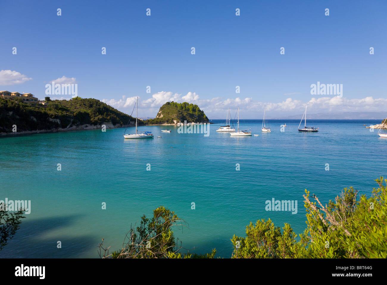Yachts at anchor, Lakka, Paxos, Greece - Stock Image