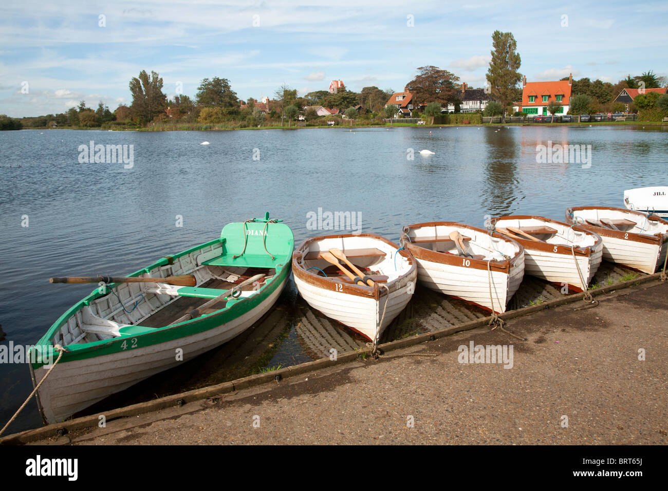 Rowing boats the Meare, Thorpeness, Suffolk, England - Stock Image