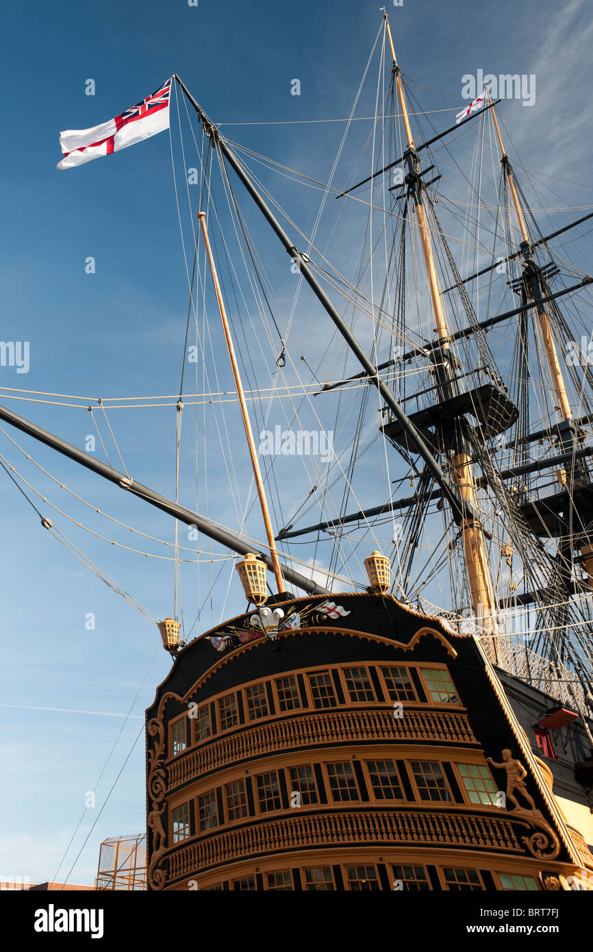 HMS Victory, (Nelsons Flagship), HM Dockyard, Portsmouth, Hampshire, England, UK; view of stern of ship showing - Stock Image
