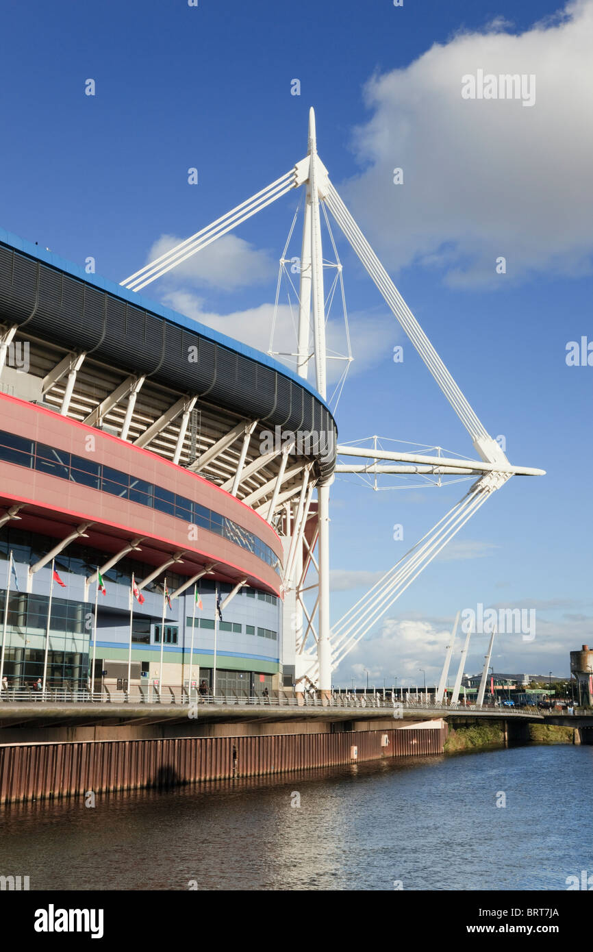 Principality Stadium Welsh national football and rugby venue beside the River Taff. Cardiff (Caerdydd), Glamorgan, - Stock Image