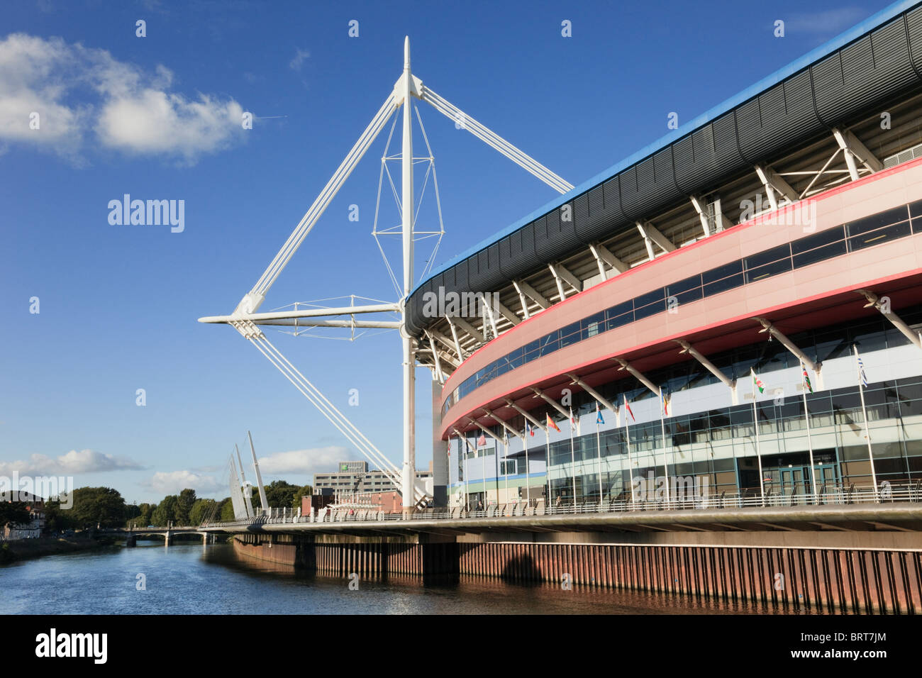 Principality Stadium national football and rugby venue beside River Taff. Cardiff (Caerdydd), South Glamorgan, South - Stock Image