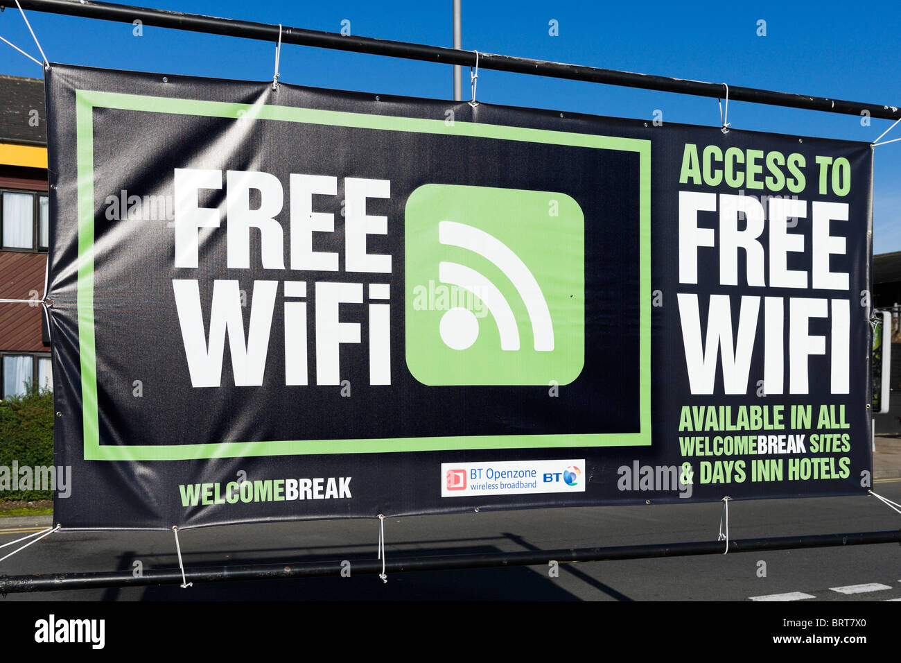 Free WiFi sign at Welcome Break Motorway Service Station, Hartshead, M62, West Yorkshire, England, UK - Stock Image
