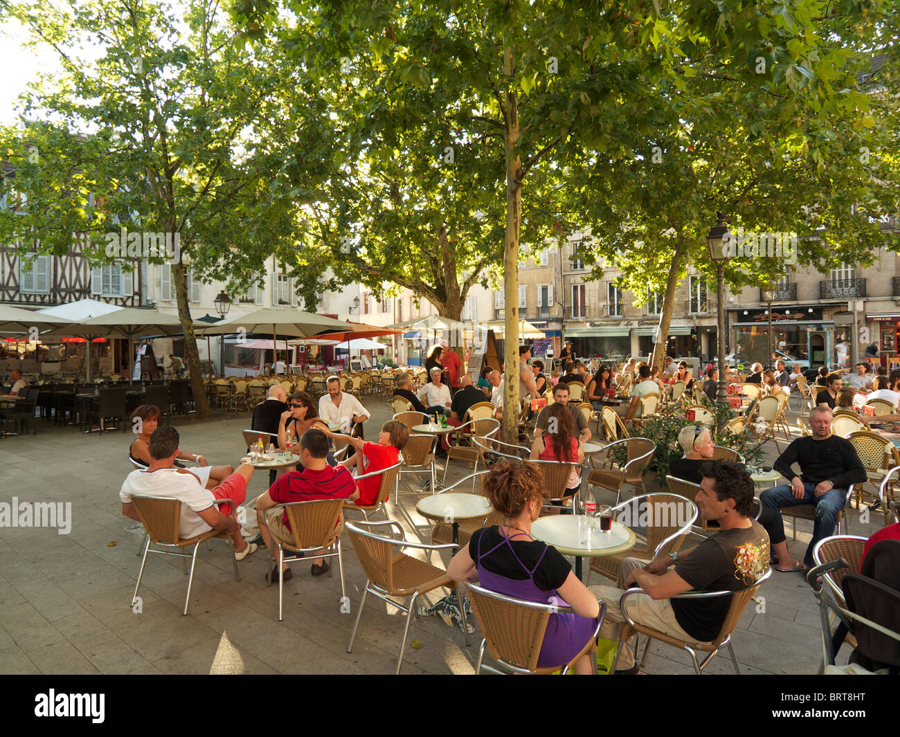 Place Emile Zola is a nice shady square lined with restaurants and cafes, Dijon, Burgundy, France Stock Photo