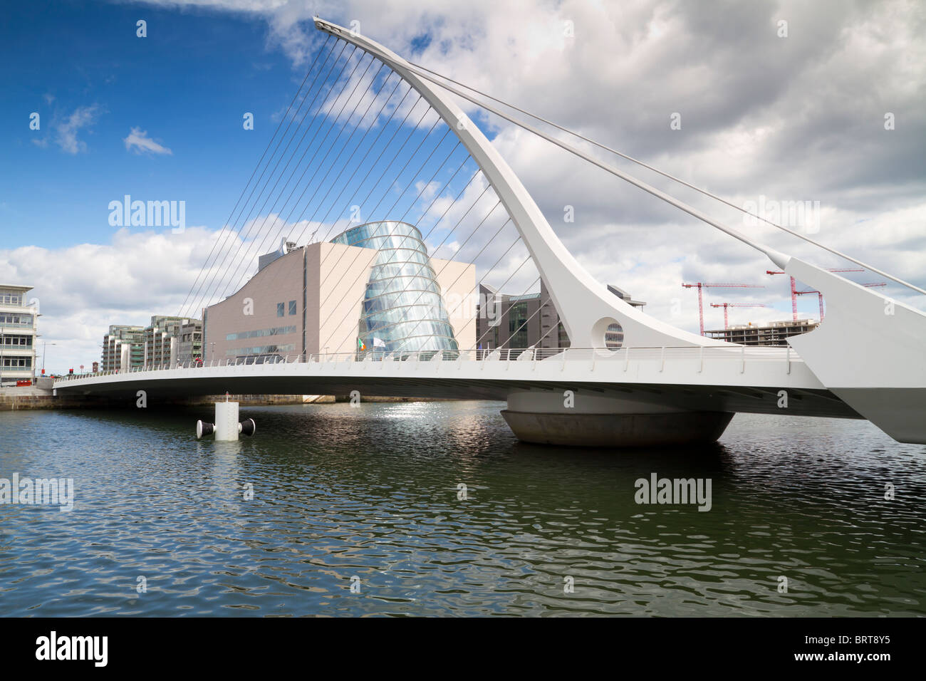 The Samuel Beckett Bridge links the northside and southside of the city over the River Liffey in the Dublin, Ireland. - Stock Image
